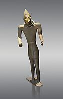 Hittite bronze figure with a mask, Hittite Period. Adana Archaeology Museum, Turkey. Against a grey background
