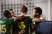 LAKE BUENA VISTA, FL - AUGUST 11: Portland Timbers celebrate a goal during a game between Orlando City SC and Portland Timbers at ESPN Wide World of Sports on August 11, 2020 in Lake Buena Vista, Florida.