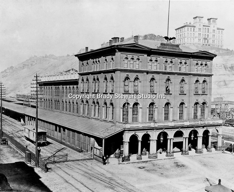 Pittsburgh PA:  Pennsylvania Railroad's Union Station.  This building was built in the 1860s and burned down in 1879.