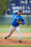 GCL Blue Jays relief pitcher Yunior Hinojosa (3) delivers a pitch during a game against the GCL Phillies East on August 10, 2018 at Carpenter Complex in Clearwater, Florida.  GCL Blue Jays defeated GCL Phillies East 8-3.  (Mike Janes/Four Seam Images)