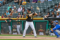 Todd Cunningham (12) of the Salt Lake Bees at bat against the Las Vegas 51s in Pacific Coast League action at Smith's Ballpark on September 4, 2016 in Salt Lake City, Utah. The Bees defeated the 51s 4-3. (Stephen Smith/Four Seam Images)