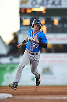 Hudson Valley Renegades center fielder Jake Fraley (27) running the bases during a game against the Batavia Muckdogs on August 2, 2016 at Dwyer Stadium in Batavia, New York.  Batavia defeated Hudson Valley 2-1.  (Mike Janes/Four Seam Images)