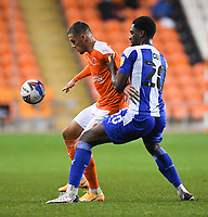 Blackpool's Jerry Yates battles with Wigan Athletic's Emeka Obi<br /> <br /> Photographer Dave Howarth/CameraSport<br /> <br /> The EFL Sky Bet League One - Blackpool v Wigan Athletic - Tuesday 3rd November 2020 - Bloomfield Road - Blackpool<br /> <br /> World Copyright © 2020 CameraSport. All rights reserved. 43 Linden Ave. Countesthorpe. Leicester. England. LE8 5PG - Tel: +44 (0) 116 277 4147 - admin@camerasport.com - www.camerasport.com