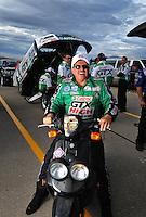 Oct. 31, 2008; Las Vegas, NV, USA: NHRA funny car driver John Force during qualifying for the Las Vegas Nationals at The Strip in Las Vegas. Mandatory Credit: Mark J. Rebilas-