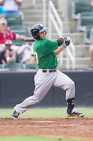 L.J. Mazzilli (13) of the Savannah Sand Gnats follows through on his swing against the Kannapolis Intimidators at CMC-Northeast Stadium on June 9, 2014 in Kannapolis, North Carolina.  The Intimidators defeated the Sand Gnats 4-2.  (Brian Westerholt/Four Seam Images)