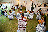 A halau preparing for a performance at the annual Kauai Polynesian Festival