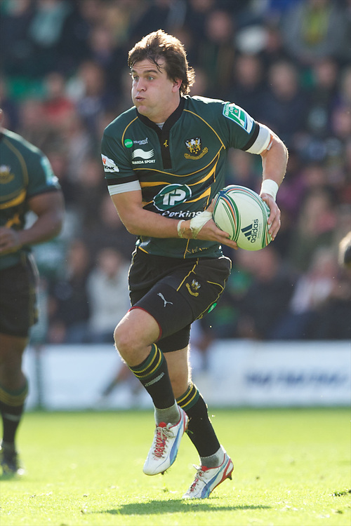 Lee Dickson of Northampton Saints in action during the Heineken Cup match between Northampton Saints and Glasgow Warriors  at Franklin's Gardens on Sunday 14th October 2012 (Photo by Rob Munro)