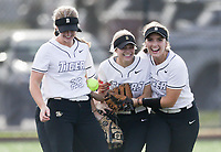 Bentonville left fielder Alleyna Rushing (24) reacts with teammates after forcing an out, Thursday, April 29, 2021 during a softball game at Bentonville High School in Bentonville. Check out nwaonline.com/210430Daily/ for today's photo gallery. <br /> (NWA Democrat-Gazette/Charlie Kaijo)
