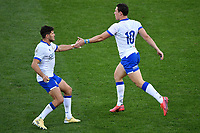 Marcello Violi and Paolo Garbisi of Italy greet each other during the rugby Autumn Nations Cup's match between Italy and Scotland at Stadio Artemio Franchi on November 14, 2020 in Florence, Italy. Photo Andrea Staccioli / Insidefoto <br /> <br /> xxx
