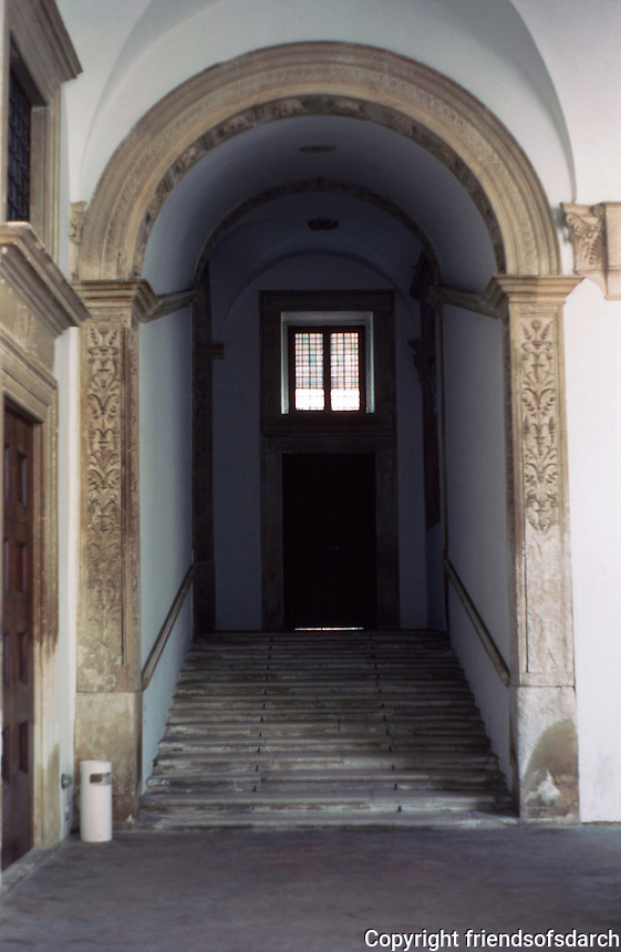 Urbino:  Ducal Palace--Court, Staircase leading to apartments.  Photo '83.