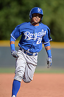 Kansas City Royals outfielder Cristhian Vasquez (22) during an instructional league game against the Seattle Mariners on October 2, 2013 at Surprise Stadium Training Complex in Surprise, Arizona.  (Mike Janes/Four Seam Images)