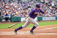 LSU Tigers outfielder Andrew Stevenson (6) follows through on his swing during the NCAA baseball game against the Baylor Bears on March 7, 2015 in the Houston College Classic at Minute Maid Park in Houston, Texas. LSU defeated Baylor 2-0. (Andrew Woolley/Four Seam Images)