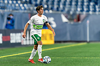 FOXBOROUGH, MA - AUGUST 26: Alex Morrell #7 of Greenville Triumph SC looks to pass during a game between Greenville Triumph SC and New England Revolution II at Gillette Stadium on August 26, 2020 in Foxborough, Massachusetts.