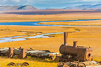 The Last Train to Nowhere, derelict steam engine, remnant of the Council City and Solomon River Railroad was abandoned on the tundra near Nome in 1907 when construction was stopped on a railroad.