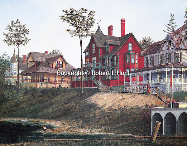 """Victorian houses of the wealthy South Fork Fishing and Hunting Club along Lake Conemaugh near Johnstown PA, circa 1888.  Fine art lithographs available, 13"""" x 16.75""""."""