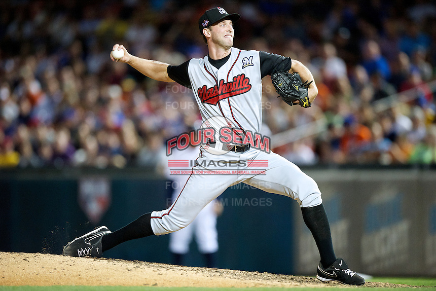 Nashville Sounds pitcher Jim Henderson #19 during the Triple-A All-Star game featuring the Pacific Coast League and International League top players at Coca-Cola Field on July 11, 2012 in Buffalo, New York.  PCL defeated the IL 3-0.  (Mike Janes/Four Seam Images)