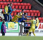 Second goalscorer Viktor Kovalenko celebrates his goal with Ukranian fans
