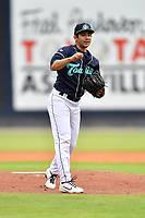 Asheville Tourists starting pitcher Jaime Melendez (9) delivers a pitch during a game against the Aberdeen IronBirds on June 19, 2021 at McCormick Field in Asheville, NC. (Tony Farlow/Four Seam Images)