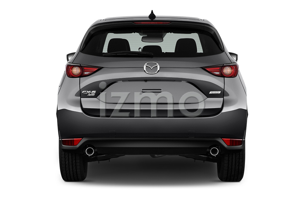 Straight rear view of 2018 Mazda CX-5 Grand-Touring 5 Door SUV Rear View  stock images