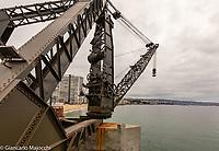 Chile, Villa del Mar, muelle Vergara,crane of Vergara Pier