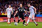 Jorge Koke of Spain (R) in action against Javier Mascherano of Argentina (L) during the International Friendly 2018 match between Spain and Argentina at Wanda Metropolitano Stadium on 27 March 2018 in Madrid, Spain. Photo by Diego Souto / Power Sport Images