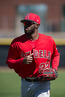 Los Angeles Angels right fielder Torii Hunter (33) during a Minor League Spring Training game against the Colorado Rockies at Tempe Diablo Stadium Complex on March 18, 2018 in Tempe, Arizona. (Zachary Lucy/Four Seam Images)