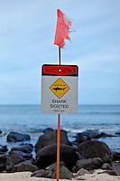 """Warning - Shark Sighted - Keep Out"" sign at Leftover's Surf Spot, North Shore, O'ahu"