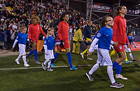 COLUMBUS, OH - NOVEMBER 07: Casey Short #26 and Christen Press #23 of the United States enter the field during a game between Sweden and USWNT at Mapfre Stadium on November 07, 2019 in Columbus, Ohio.
