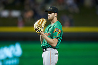 Down East Wood Ducks starting pitcher Jason Bahr (18) looks to his catcher for the sign against the against the Winston-Salem Dash at BB&T Ballpark on May 10, 2019 in Winston-Salem, North Carolina. The Wood Ducks defeated the Dash 9-2. (Brian Westerholt/Four Seam Images)