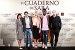 Spanish director, Norberto López Amado (2l), the actors<br /> Belén Rueda (c), Marian Álvarez (l) and Ivan Mendes (2r) and screenwriter Jorge Guerricaechevarría during the photocall of presentation of the film 'El cuaderno de Sara'. January 30, 2018. (ALTERPHOTOS/Acero)