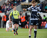 20130310 Copyright onEdition 2013©.Free for editorial use image, please credit: onEdition..Referee JP Doyle during the LV= Cup semi final match between Sale Sharks and Saracens at the Salford City Stadium on Sunday 10th March 2013 (Photo by Rob Munro)..For press contacts contact: Sam Feasey at brandRapport on M: +44 (0)7717 757114 E: SFeasey@brand-rapport.com..If you require a higher resolution image or you have any other onEdition photographic enquiries, please contact onEdition on 0845 900 2 900 or email info@onEdition.com.This image is copyright onEdition 2013©..This image has been supplied by onEdition and must be credited onEdition. The author is asserting his full Moral rights in relation to the publication of this image. Rights for onward transmission of any image or file is not granted or implied. Changing or deleting Copyright information is illegal as specified in the Copyright, Design and Patents Act 1988. If you are in any way unsure of your right to publish this image please contact onEdition on 0845 900 2 900 or email info@onEdition.com