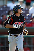Tommy Medica #23 of the Lake Elsinore Storm runs to first base against the Inland Empire 66'ers at San Manuel Stadium on July 15, 2012 in San Bernardino, California. Inland Empire defeated Lake Elsinore 4-3. (Larry Goren/Four Seam Images)