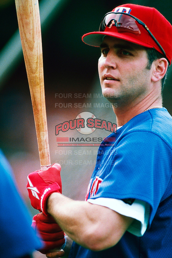 Billy Ripken of the Texas Rangers during a game at Dodger Stadium in Los Angeles, California during the 1997 season.(Larry Goren/Four Seam Images)