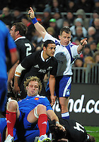 Referee Nigel Davies awards a penalty to the All Blacks during the international rugby match between the New Zealand All Blacks and France at Yarrow Stadium, New Plymouth, New Zealand on Saturday, 21 June 2013. Photo: Dave Lintott / lintottphoto.co.nz