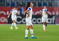 CARSON, CA - FEBRUARY 07: Mariana Benavides #4 of Costa reacts at the end of the match during a game between Canada and Costa Rica at Dignity Health Sports Park on February 07, 2020 in Carson, California.