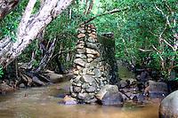 Stone bridge pillar in Iron Range National  Park, Queensland