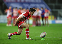 20th November 2020; Totally Wicked Stadium, Saint Helens, Merseyside, England; BetFred Super League Playoff Rugby, Saint Helens Saints v Catalan Dragons; Lachlan Coote of St Helens lines up a conversion
