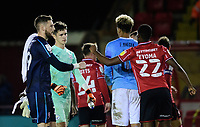 Lincoln City's Ethan Ross, left, with team-mate Timothy Eyoma<br /> <br /> Photographer Chris Vaughan/CameraSport<br /> <br /> EFL Papa John's Trophy - Northern Section - Group E - Lincoln City v Manchester City U21 - Tuesday 17th November 2020 - LNER Stadium - Lincoln<br />  <br /> World Copyright © 2020 CameraSport. All rights reserved. 43 Linden Ave. Countesthorpe. Leicester. England. LE8 5PG - Tel: +44 (0) 116 277 4147 - admin@camerasport.com - www.camerasport.com