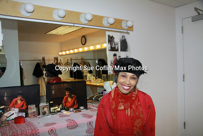 Guiding Light Kim Brockington (in her dressing room) stars in Zora which brings famed author Zora Neale Hurston to Life for Black History Month Play Festival at the Castillo Theatre, NYC on February 09, 2012. This is the dress rehearsal of the playl (Photo by Sue Coflin/Max Photos)