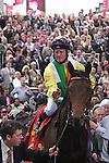 Arc de Triomphe in Paris.  Sea of the Stars (Irl) wins the race. Jockey MJ Kinane, Owner : Christopher Tsui