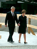 New York, NY - September 10, 2006 -- United States President George W. Bush and first lady Laura Bush lay a wreath in commemoration of the fifth anniversary of the September 11, 2001 terrorist attacks on New York City and Washington, D.C. at Ground Zero, the site where the World Trade Center Tower 2 stood in New York, New York on Sunday, September 10, 2006.<br /> Credit: Ron Sachs / Pool via CNP