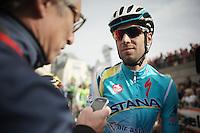 Vincenzo Nibali (ITA/Astana) interviewed at the start<br /> <br /> Liège-Bastogne-Liège 2014