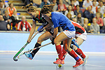Berlin, Germany, February 10: During the FIH Indoor Hockey World Cup quarterfinal match between Germany (black) and Poland (red) on February 10, 2018 at Max-Schmeling-Halle in Berlin, Germany. Final score 3-1. (Photo by Dirk Markgraf / www.265-images.com) *** Local caption *** Lisa ALTENBURG #18 of Germany, Marlena RYBACHA #16 of Poland