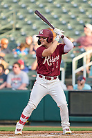 Frisco RoughRiders Steele Walker (2) bats during a game against the San Antonio Missions on June 25, 2021 at Dr. Pepper Ballpark in Frisco, Texas.  (Ken Murphy/Four Seam Images)