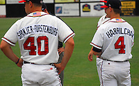 July 15, 2009: Photo of two of the lengthy names in the Danville Braves, rookie Appalachian League affiliate of the Atlanta Braves, prior to a game against the Elizabethton Twins at Dan Daniel Memorial Park in Danville, Va. Photo by:  Tom Priddy/Four Seam Images