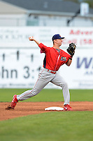 Williamsport Crosscutters second baseman Sam Dove (37) attempts to turn a double play during a game against the Batavia Muckdogs on September 4, 2013 at Dwyer Stadium in Batavia, New York.  Williamsport defeated Batavia 6-3 in both teams season finale.  (Mike Janes/Four Seam Images)