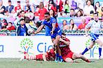Afon Bagshaw of Wales (R) tries to tackle David Afamasaga of Samoa (C) during the HSBC Hong Kong Sevens 2018 Shield Final match between Samoa and Wales on April 8, 2018 in Hong Kong, Hong Kong. Photo by Marcio Rodrigo Machado / Power Sport Images