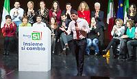 """Il presidente del consiglio Matteo Renzi parla durante una manifestazione per il Si' al referendum costituzionale del prossimo 4 dicembre, a Roma, 26 novembre 2016.<br /> Italian Premier Matteo Renzi speaks during a demonstration in support of the """"Yes"""" vote to the upcoming constitutional referendum, in Rome, 27 November 2016. Italians will be called on December 4 to vote in a referendum proposed by Renzi's government, on the reform of the Constitution<br /> UPDATE IMAGES PRESS/Riccardo De Luca"""