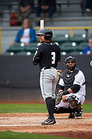 Lansing Lugnuts left fielder Nick Sinay (3) at bat during a game against the Clinton LumberKings on May 9, 2017 at Ashford University Field in Clinton, Iowa.  Lansing defeated Clinton 11-6.  (Mike Janes/Four Seam Images)