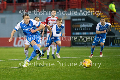 Hamilton Accies v St Johnstone…08.05.18…  New Douglas Park    SPFL<br />David McMillan scores from the penalty spot ater George Willioams was fouled<br />Picture by Graeme Hart. <br />Copyright Perthshire Picture Agency<br />Tel: 01738 623350  Mobile: 07990 594431